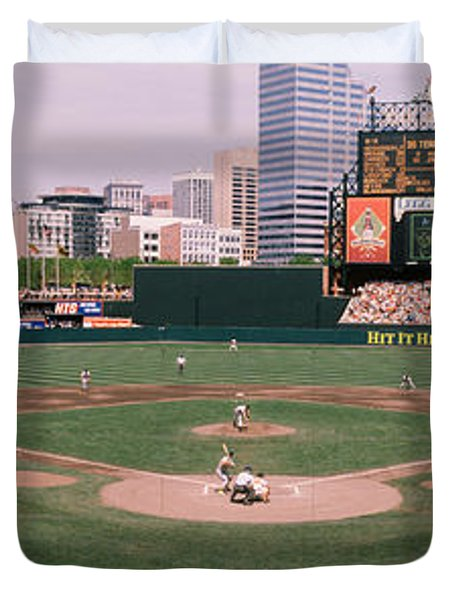 High Angle View Of A Baseball Field Duvet Cover by Panoramic Images