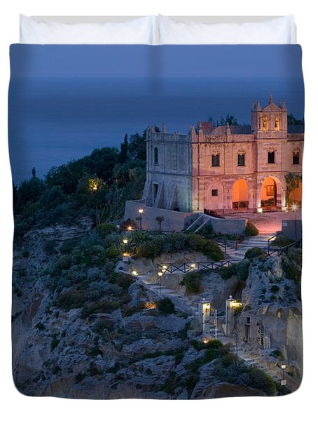 High Angle View Of A Church Lit Duvet Cover