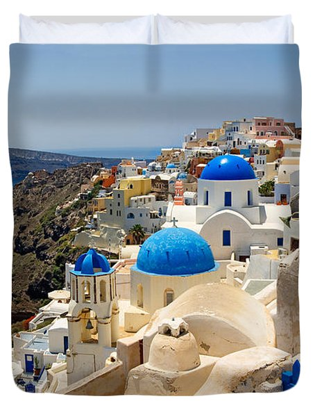 High Angle View Of A Church, Oia Duvet Cover