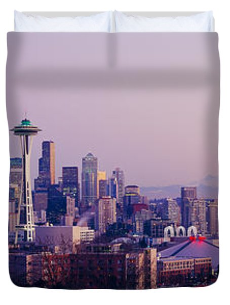 High Angle View Of A City At Sunrise Duvet Cover