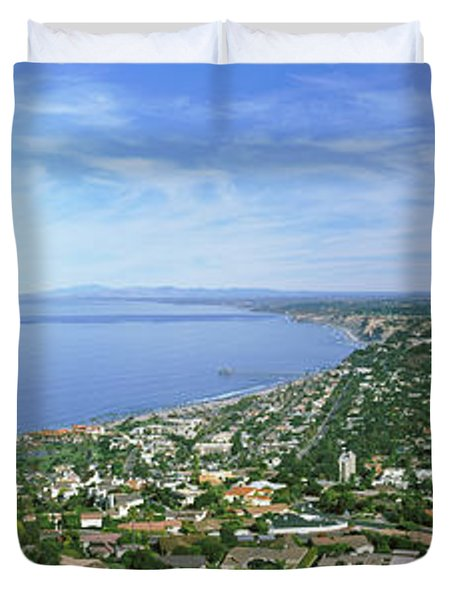 High Angle View Of A Town, La Jolla Duvet Cover