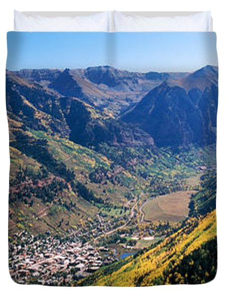 High Angle View Of A Valley, Telluride Duvet Cover