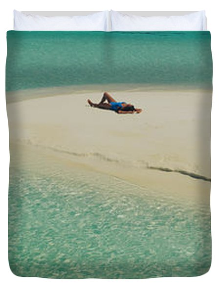 High Angle View Of A Woman Sunbathing Duvet Cover