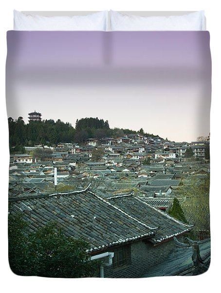 High Angle View Of Houses In The Old Duvet Cover