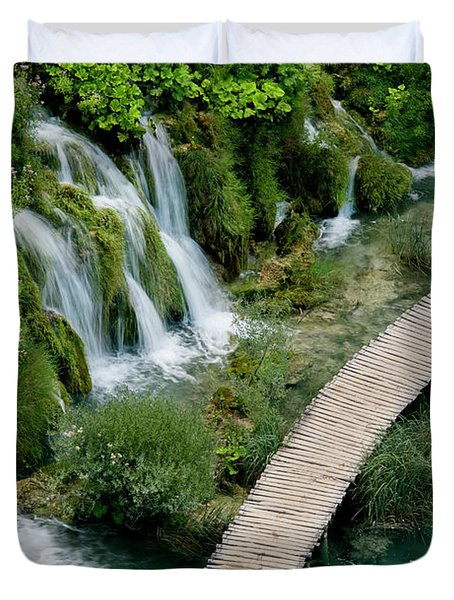 High Angle View Of Waterfall Duvet Cover