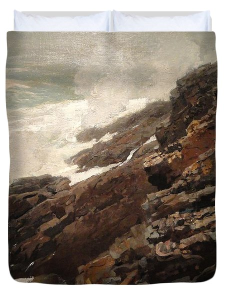 High Cliff Coast Of Maine 1894 Duvet Cover by Philip Ralley