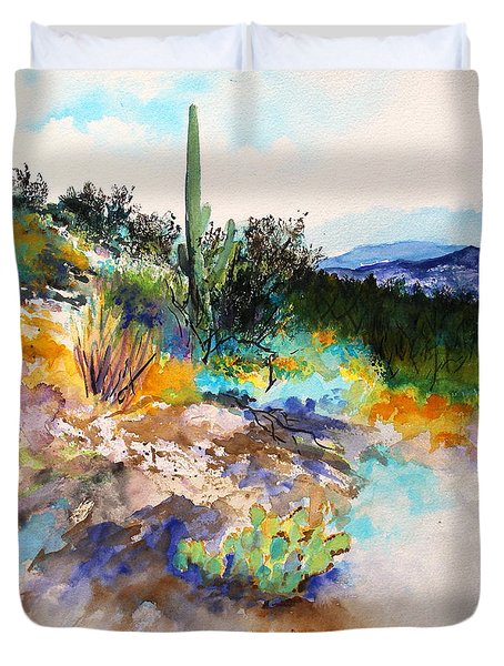 Duvet Cover featuring the painting High Desert Scene 2 by M Diane Bonaparte