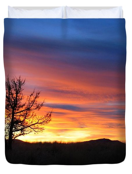 Duvet Cover featuring the photograph High Desert Sunset by Kevin Desrosiers