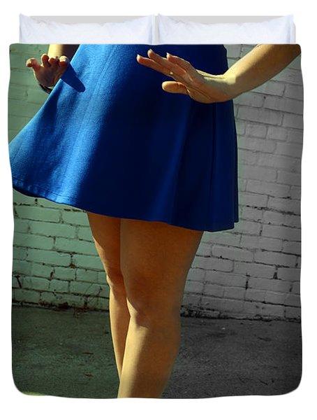 High Heels And A Blue Skirt Duvet Cover
