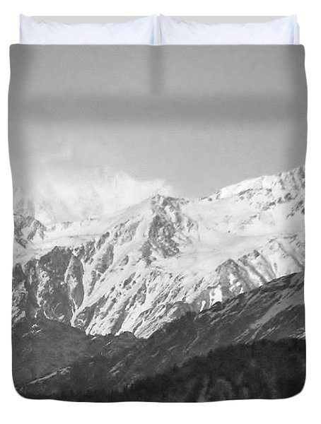 High Himalayas - Black And White Duvet Cover by Kim Bemis