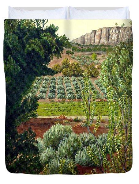 High Mountain Olive Trees  Duvet Cover