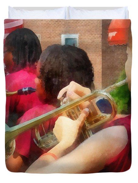 High School Band At Parade Duvet Cover by Susan Savad