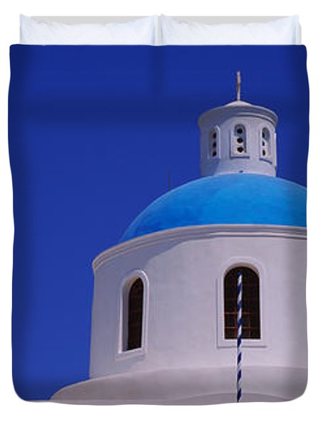 High Section View Of A Church, Oia Duvet Cover