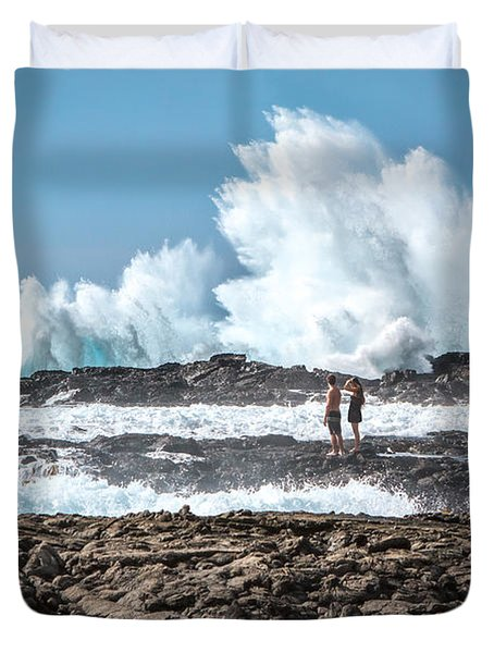 In Over Their Heads Duvet Cover by Denise Bird