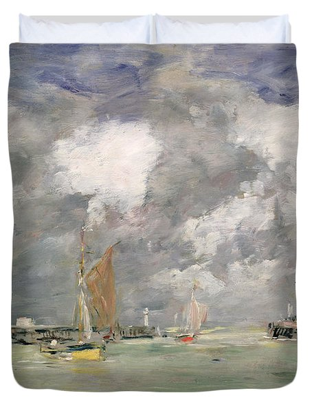 High Tide At Trouville Duvet Cover by Eugene Louis Boudin