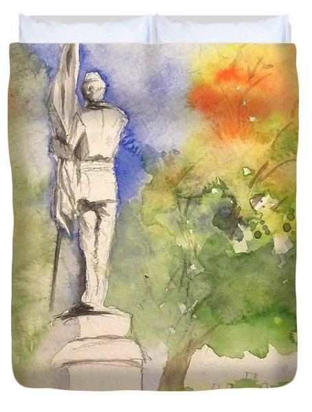 Highland Cemetery-plein Air-ypsilanti Michigan 1 Duvet Cover by Yoshiko Mishina
