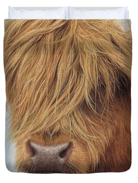 Highland Cow Painting Duvet Cover