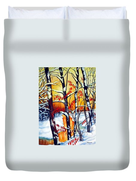Duvet Cover featuring the painting Highland Creek Sunset 2  by Inese Poga
