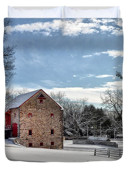 Highland Farms In The Snow Duvet Cover by Bill Cannon