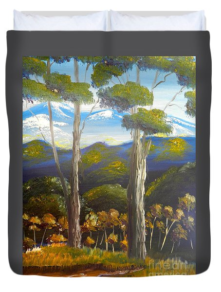 Highlands Gum Trees Duvet Cover by Pamela  Meredith