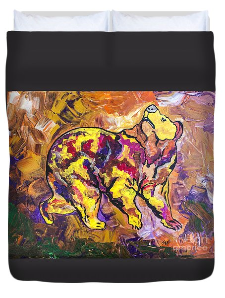 Duvet Cover featuring the painting Highland's North Carolina Bear by Janice Rae Pariza