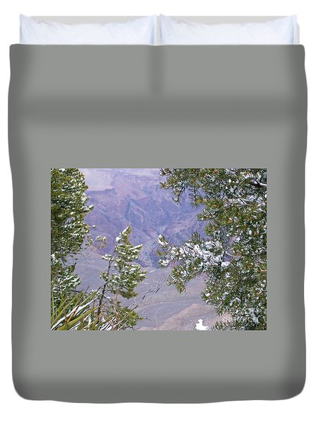 Duvet Cover featuring the photograph Highlighting Snow by Roberta Byram