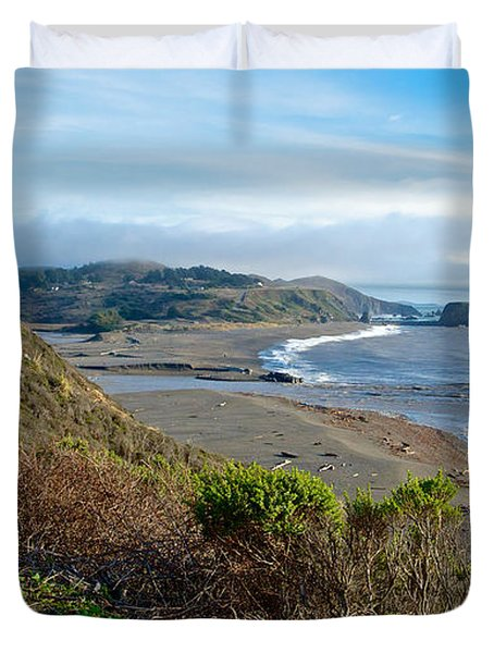 Highway 1 Near Outlet Of Russian River Into Pacific Ocean Near Jenner-ca  Duvet Cover