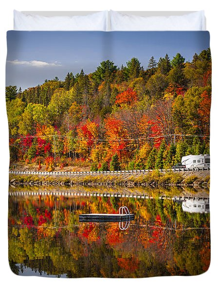 Highway Through Fall Forest Duvet Cover