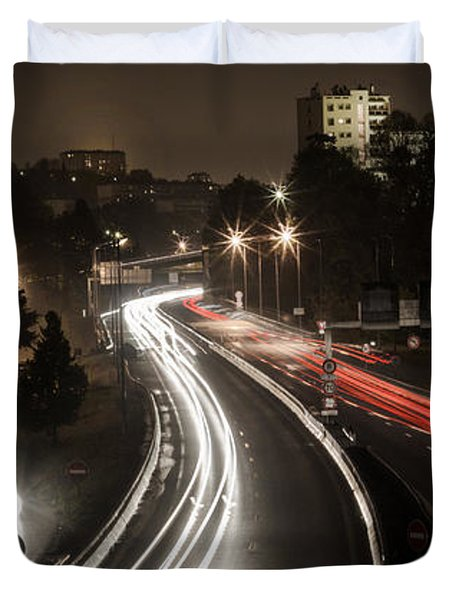 Duvet Cover featuring the photograph Highway's Lights by Stwayne Keubrick