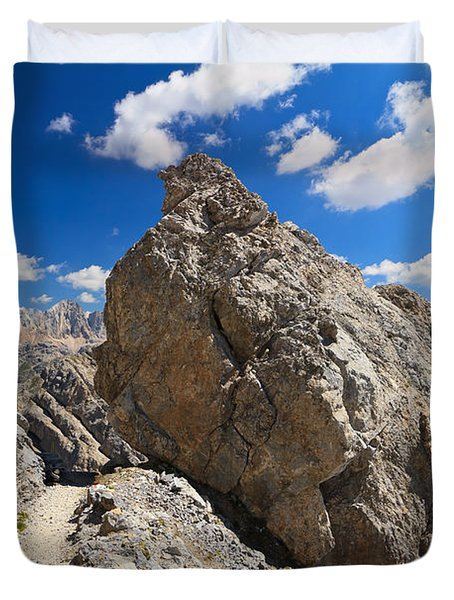 hike in Dolomites Duvet Cover by Antonio Scarpi