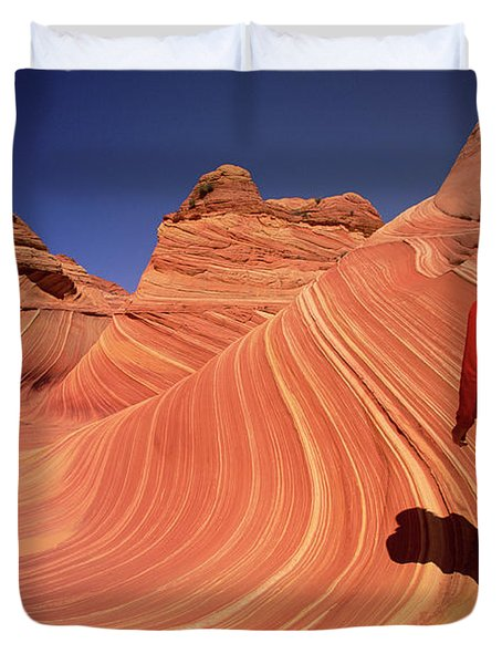 Hiker On Petrified Dunes Duvet Cover