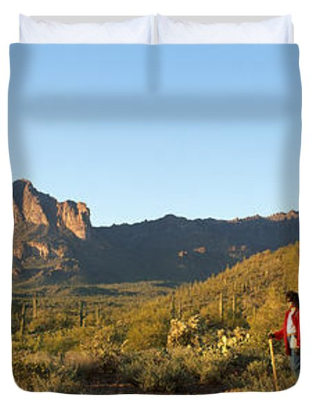 Hiker Standing On A Hill, Phoenix Duvet Cover by Panoramic Images