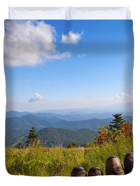 Hikers With A View On Round Bald Near Roan Mountain Duvet Cover