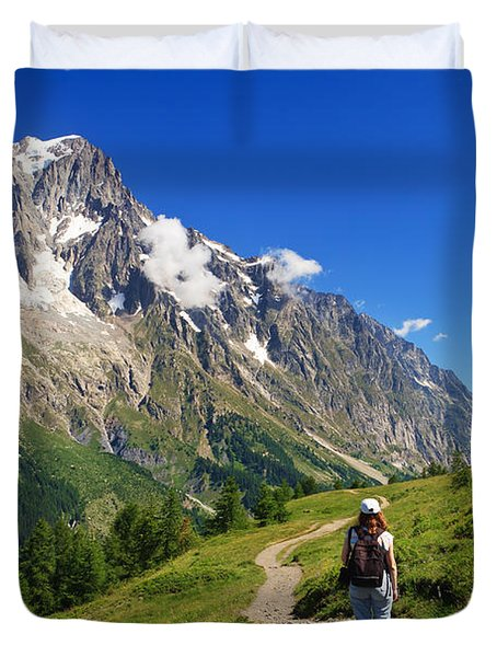 Duvet Cover featuring the photograph hiking in Ferret Valley by Antonio Scarpi