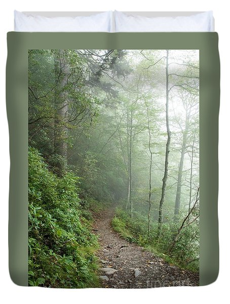Hiking In The Clouds Duvet Cover by Debbie Green