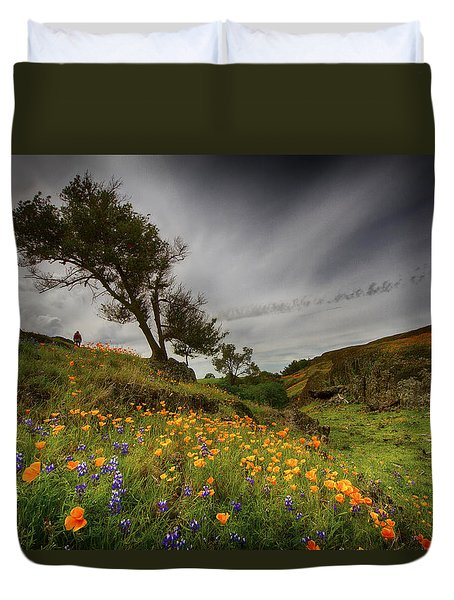 Hiking On Table Mountain Duvet Cover