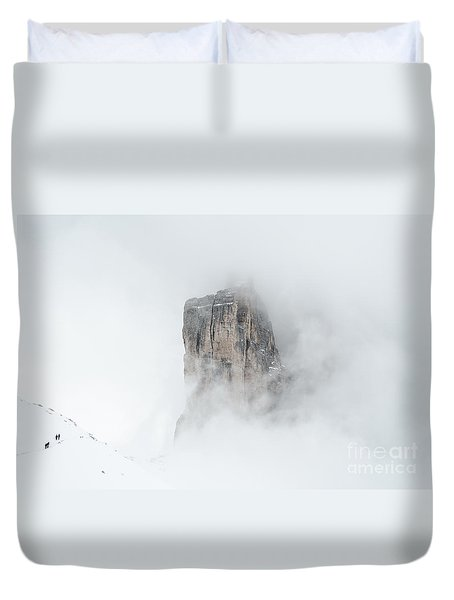 Hiking The Tre Cime In Winter Duvet Cover