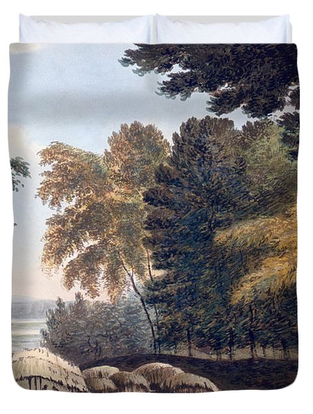 Hill Village In The District Of Bauhelepoor Duvet Cover by William Hodges
