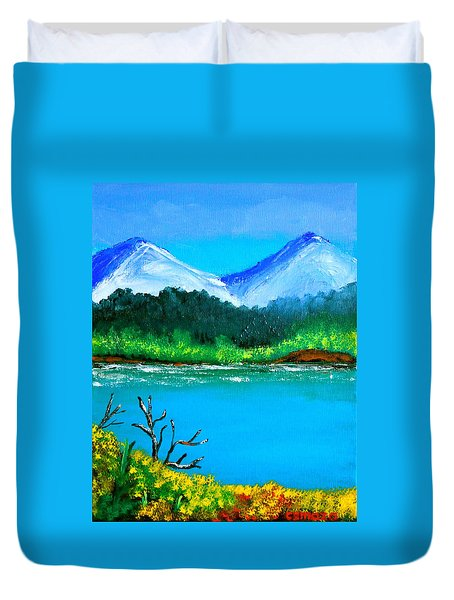 Hills By The Lake Duvet Cover