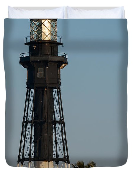 Hillsboro Inlet Lighthouse In The Evening Duvet Cover by Ed Gleichman