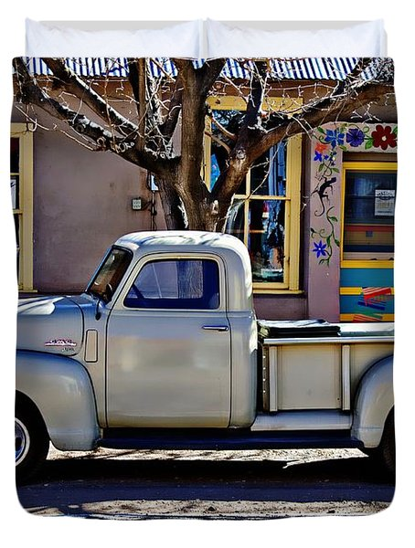 Duvet Cover featuring the painting Hillsboro New Mexico 1949 Gmc 100 by Barbara Chichester