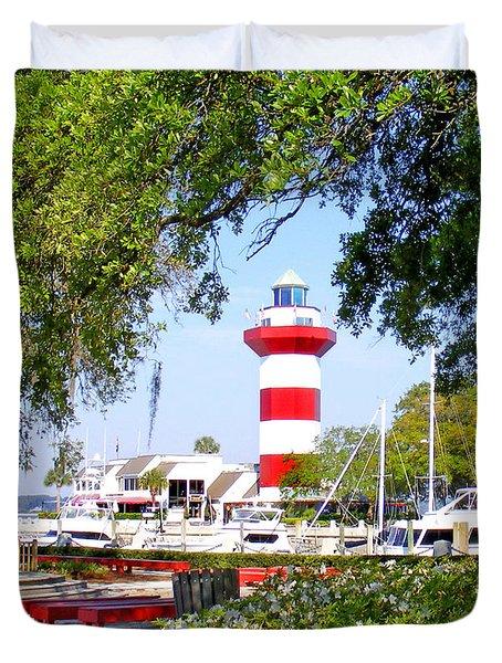 Hilton Head Lighthouse And Marina Duvet Cover