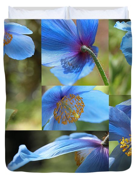 Himalayan Blue Poppy Collage Duvet Cover by Jennie Marie Schell