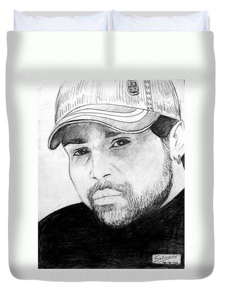 Duvet Cover featuring the painting Himesh Reshammiya by Salman Ravish
