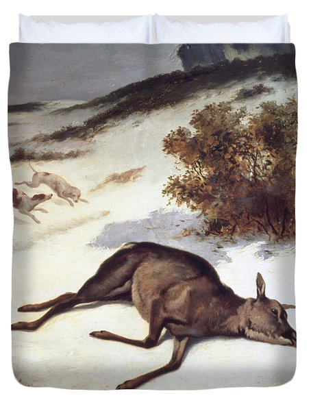 Hind Forced Down In The Snow Duvet Cover by Gustave Courbet