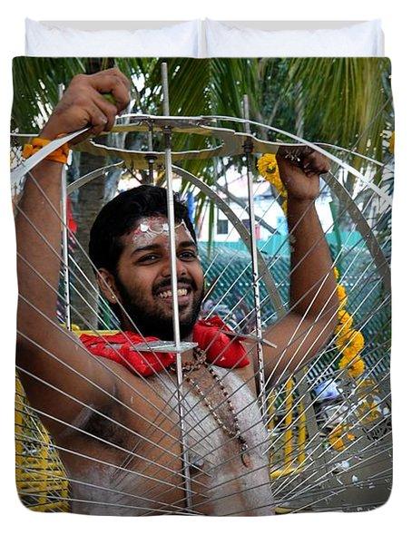 Duvet Cover featuring the photograph Hindu Thaipusam Festival Pierced Devotee  by Imran Ahmed