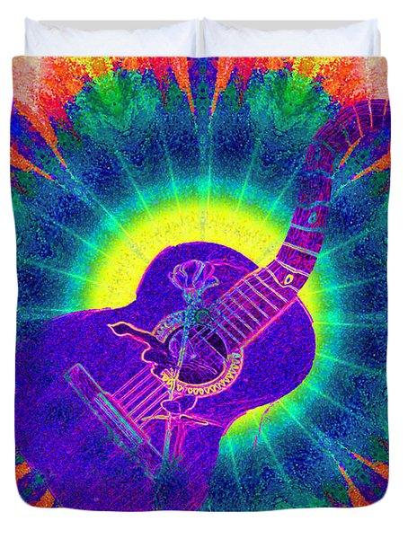 Hippie Guitar Duvet Cover by Bill Cannon