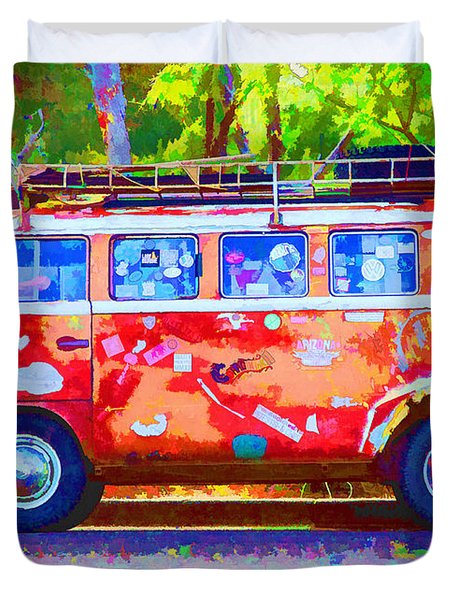 Duvet Cover featuring the photograph Hippie Van by Jaki Miller