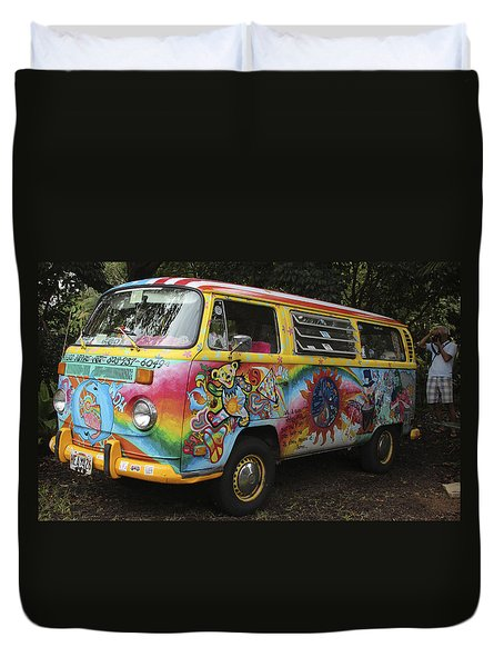 Vintage 1960's Vw Hippie Bus Duvet Cover