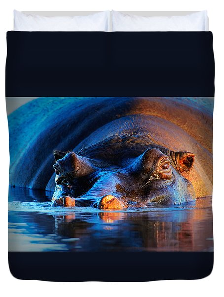 Hippopotamus  At Sunset Duvet Cover by Johan Swanepoel